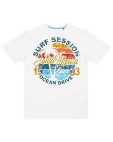 Pierre Roche Santa Monica Print T-Shirt Off White