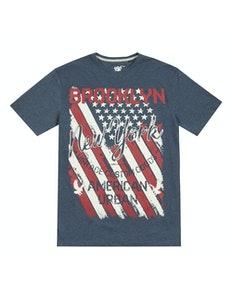 Pierre Roche Brooklyn Printed T-Shirt Denim