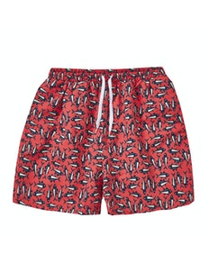 Fish Print Swim Shorts Coral