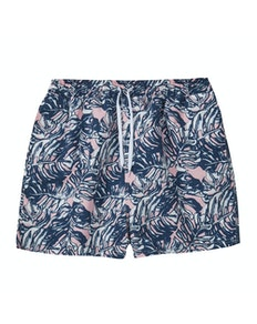 Leaf Print Swim Shorts Navy/Pink