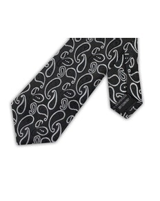 Knightsbridge Extra Long Large Paisley Tie Black
