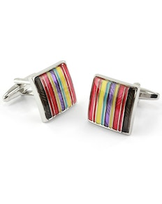 Sophos Square Multi Red Stripe Cufflinks