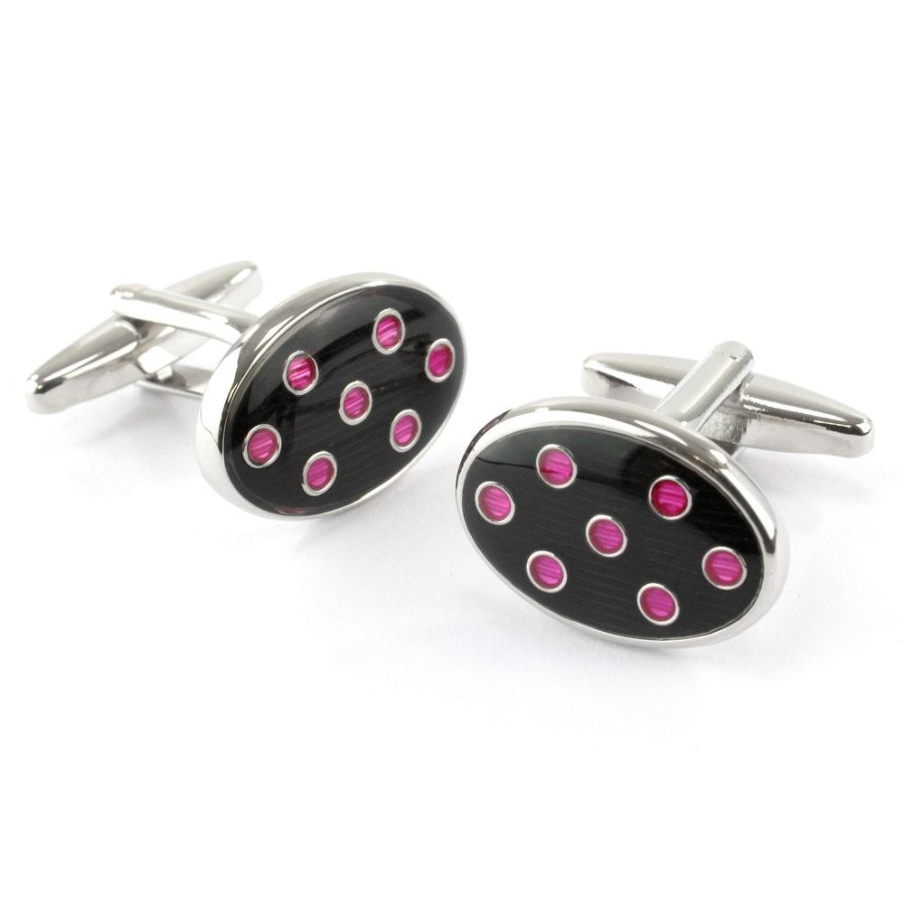 Sophos Oval Cufflinks- Navy/Pink Spot