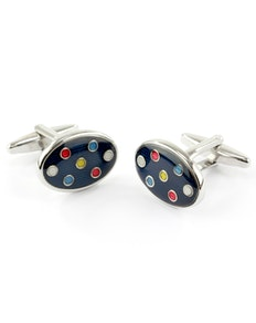 Sophos Oval Cufflinks- Multi Colour Spot