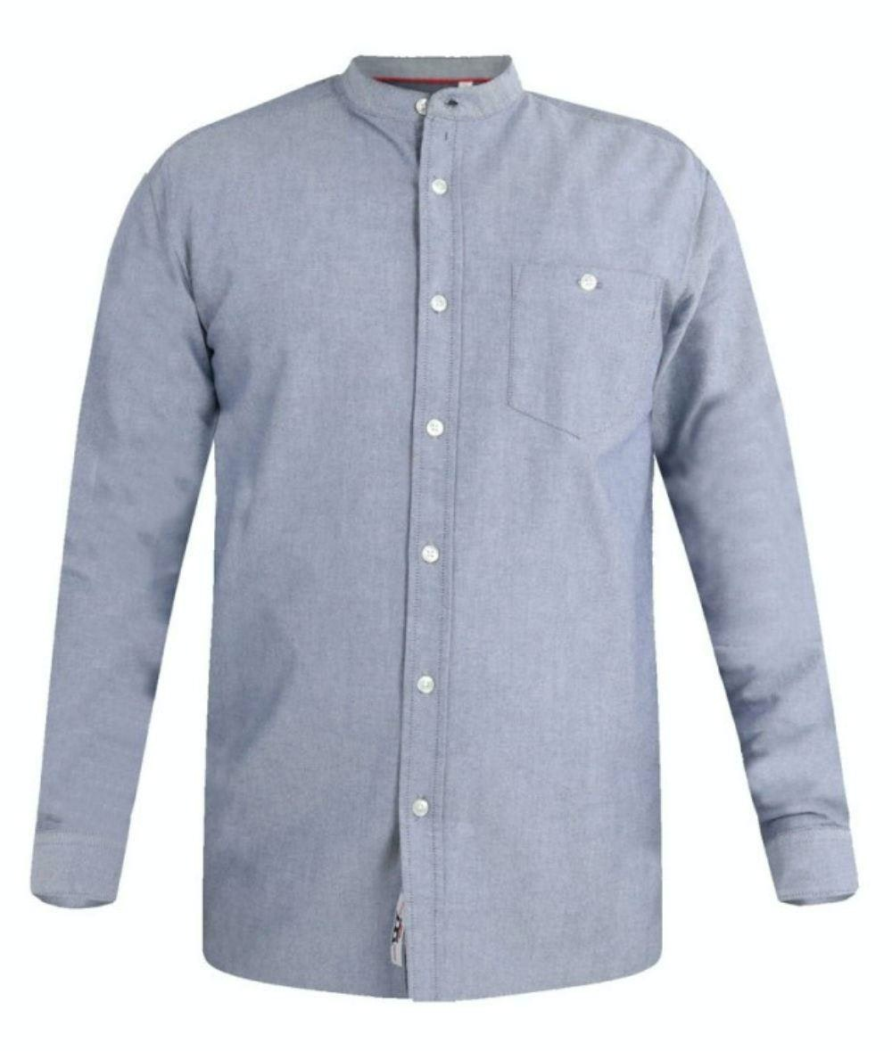 D555 Cameron Grandad Oxford Shirt Grey