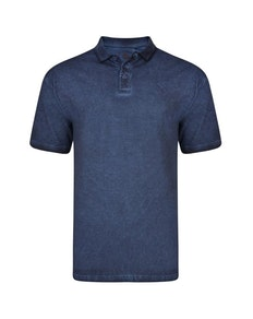 KAM Acid Wash Polo Shirt Indigo