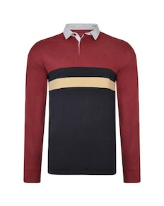 KAM Stripe Rugby Top Burgundy