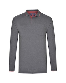 KAM Long Sleeve Tipped Polo Charcoal