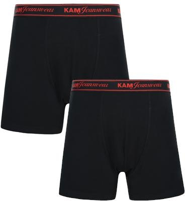 KAM Twin Pack Boxer Shorts Black