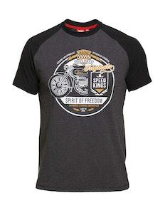 D555 Dallas Raglan Printed T-Shirt Charcoal