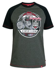 D555 Dallas Raglan Printed T-Shirt Khaki