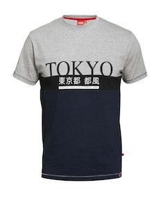 D555 Morris Tokyo Print Cut & Sew T-Shirt Navy