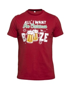 D555 Booze Christmas Printed T-Shirt Red