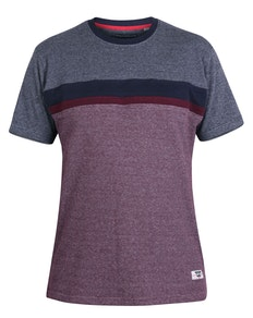 D555 Brampton Cut & Sew Pique T-Shirt Navy/Burgundy