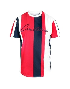 D555 Bancroft Stripe T-Shirt Navy/Red