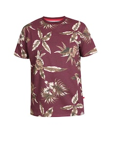 D555 Baxter Leaf Printed Crew Neck T-Shirt Burgundy