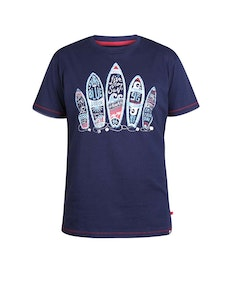 D555 Stafford Surfboards Printed T-Shirt Navy