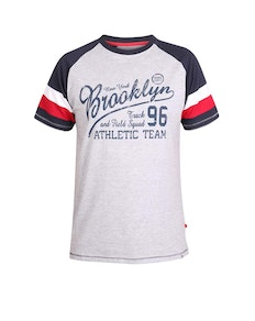 D555 Jones Raglan Printed T-Shirt Grey Marl