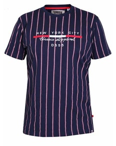 D555 Davis Stripe Printed T-Shirt Navy