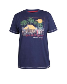 D555 Collins 'Livin' For The Waves' Crew Neck T-Shirt Navy
