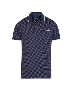 D555 Rogers Printed Polo Shirt Navy