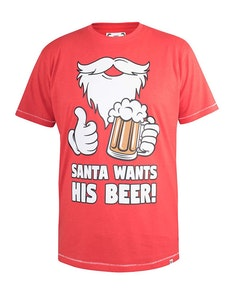 D555 Nicholas Christmas Beer Printed T-Shirt Red