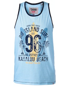 D555 Wirral Hawaiin Surf Print Vest Blue