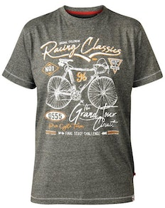 D555 Eastwood Bicycle Crew Neck Printed T-Shirt Khaki Twist