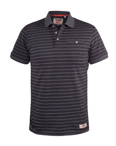 D555 Perth Stripe Jersey Polo With Chest Pocket Charcoal