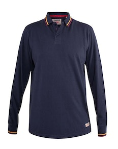 D555 Wellington Long Sleeve Tipped Colour Polo Shirt Navy