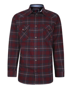 KAM Flannel Long Sleeve Check Shirt Burgundy
