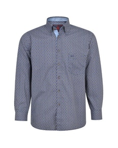 KAM Paisley Print Long Sleeve Shirt Navy