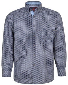 KAM Paisley Print Long Sleeve Shirt Navy
