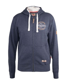 D555 Orchid Chest Printed Zip Through Hoody Navy