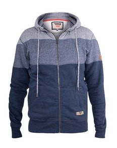 D555 Columbus Cut And Sew Zip Through Hoody Blue