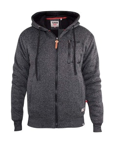 D555 Lakewood Zip Through Hoody With Sherpa Lining Black