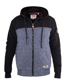 D555 Allen Zip Through Hoody With Sherpa Lining Denim