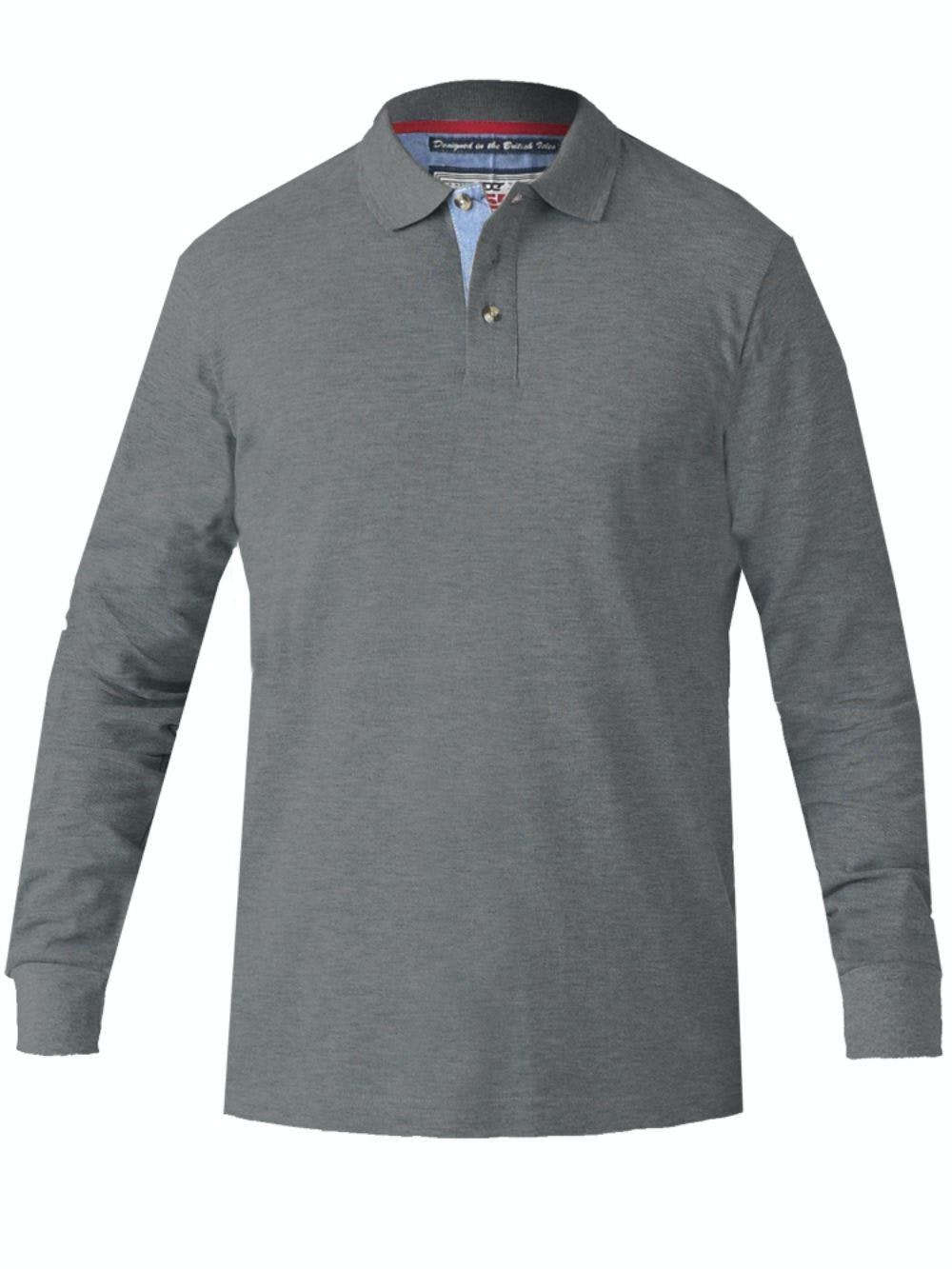 D555 Darvin Long Sleeve Polo Charcoal Tall