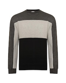 KAM Contrast Panel Sweatshirt Charcoal