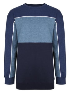 KAM Contrast Panel Sweatshirt Denim