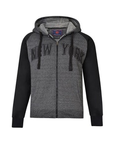 KAM Sherpa Lined New York Hoody Black