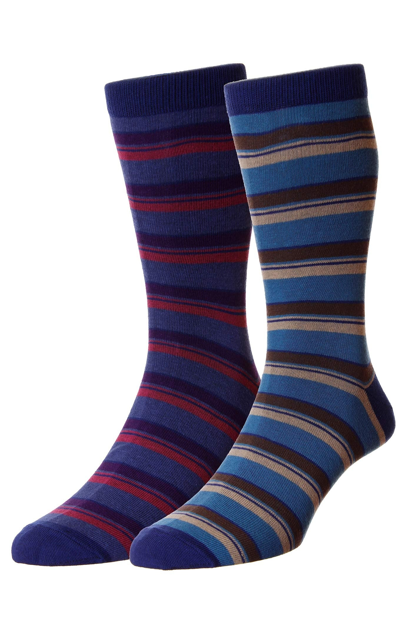 HJ Hall Bocastle Stripe Twin Pack Socks Navy