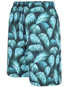 Espionage Feather Print Swim Shorts Navy/Teal
