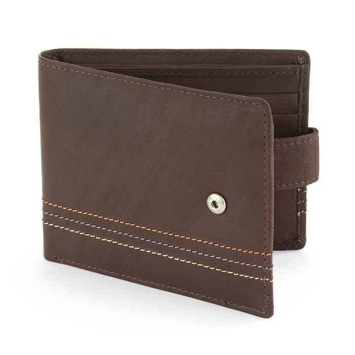 Sophos Tri Striped Brown Leather Wallet