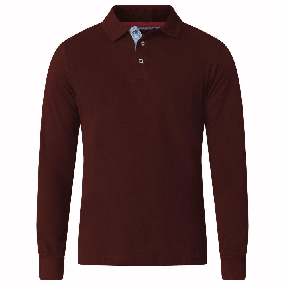 D555 Darvin Long Sleeve Polo WineTall