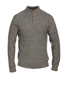 D555 Louie Cable Knit Zip Neck Sweater Charcoal