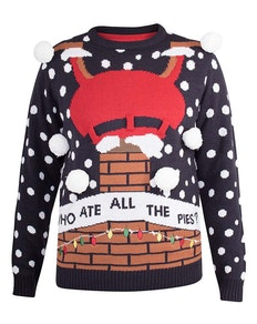 D555 Sparkle 'Who Ate All The Pies?' Christmas Jumper Navy