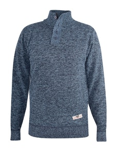 D555 Wilmington Zipper And Button Neck Sweater Blue