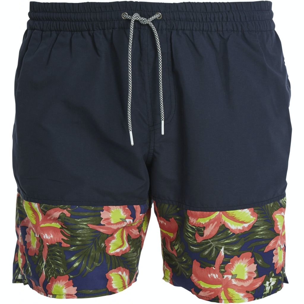 Replika Floral Print Swim Shorts Navy