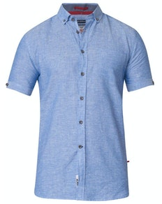 D555 Eric Linen Cotton Short Sleeve Shirt Blue Tall